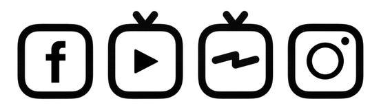 Dieses ist ein Foto von Facebook-, Instagram- und Instagram-IGTV Logos gedruckt auf Papier vektor abbildung