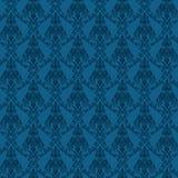 Dieses ist ein nahtloses Damastmuster in der blauen Farbe. Dieses ist eine RGB-Farbbetriebsart Abbildungsdatei, die in Adobe-Illus Lizenzfreies Stockfoto