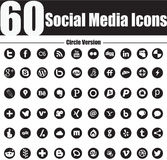 60 Sozialmedium-Ikonen kreisen Version ein Stockfoto