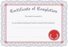 Zertifikat der Fertigstellung Stockfoto