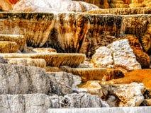 Dieses ist eine der Terrassen bei Mammoth Hot Springs in Yellowstone stockfotografie
