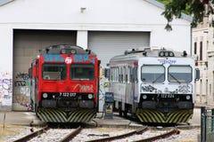 Dieslowscy locos na zewnątrz Pula staci kolejowej, Chorwacja zdjęcia royalty free