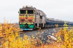 Dieslowska lokomotywa jest pociągiem towarowym Obrazy Stock