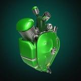 Dieslowski punkowy robota techno serce silnik z drymbami, grzejniki i glansowany zielony metal, okapturzamy części odosobniony obraz royalty free