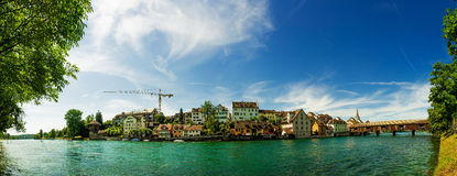 Diessenhofen Panorama. June 2014, facades of Diessenhofen (Switzerland) at the river Rhine, panorama Stock Image