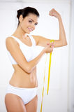 Diet?. Woman body part is being measured Royalty Free Stock Photo
