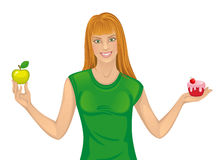 Diet. Woman with a cake and apple on a white background royalty free illustration