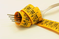 Diet. A closeup of a fork with a meter royalty free stock photos