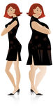 Before and After diet 2. Vector illustration of changes in sizes before and after diet Royalty Free Stock Photo