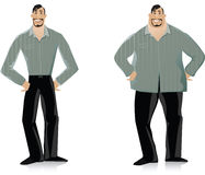 Before and After diet 2. Vector illustration of a man before and after diet Royalty Free Stock Photography