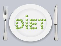 Diet. The Plate with pea words diet. The Vector illustration Stock Image