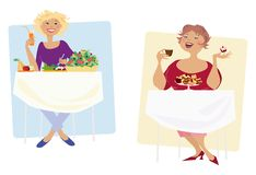 Diet. Two different types of diet Stock Illustration