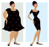 Before and after diet. Changes in shape of a lady after diet Vector Illustration