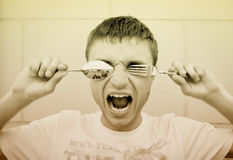 Diet. A hungry man with cutlery Stock Images