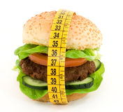 Diet. Hamburger with meter diet concept Royalty Free Stock Photos