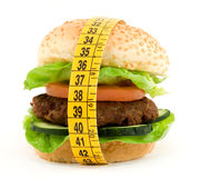 Diet. Hamburger with meter diet concept Royalty Free Stock Photography