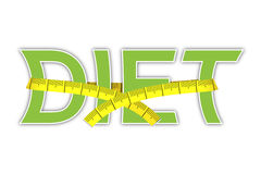 Diet. Text with yellow measuring tape Royalty Free Stock Image