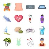 Diet and active rest and other web icon in cartoon style.Training and vitamin complex icons in set collection. Royalty Free Stock Image