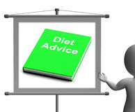 Diet Advice Book  Sign Shows Weight loss Knowledge Stock Image