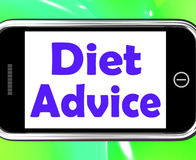 Diet Advice On Phone Shows Weightloss Knowledge Royalty Free Stock Images