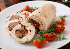 Diet baked chicken rolls stuffed liver Royalty Free Stock Photography