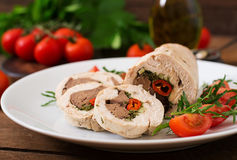 Diet baked chicken rolls stuffed liver Royalty Free Stock Image