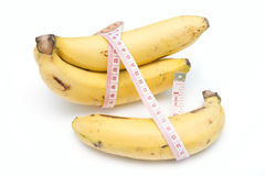 Diet with banana, fruits for health Stock Images