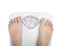 Diet bathroom scale on white Stock Photo