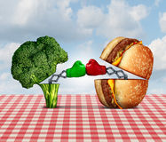 Diet Battle. And food fight nutrition concept as a fresh healthy broccoli fighting an unhealthy cheese burger with boxing gloves punching each other vector illustration