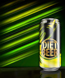 Diet beer with less calories green can. Shiny can of beer for dieters Stock Photography