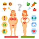 Diet. Being fat or slim. Diet. Choice of girls. Being fat or slim. Healthy lifestyle and bad habits. Vector flat illustrations stock illustration