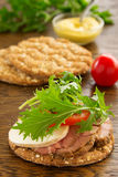 Diet bread with roast beef. And salad Royalty Free Stock Photos