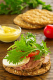 Diet bread with roast beef Stock Images