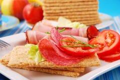Diet breakfast. With crispbread for breakfast Royalty Free Stock Image