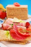 Diet breakfast. With crispbread for breakfast Stock Image