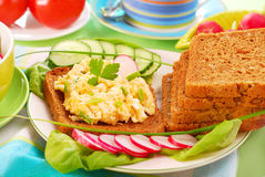 Diet breakfast. With egg and cheese spread Stock Image