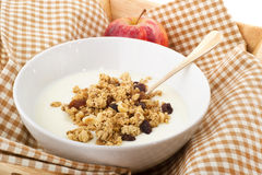 Diet breakfast. With yogurt and a red apple Royalty Free Stock Images