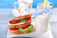 Diet breakfast with caprese sandwich Royalty Free Stock Photos