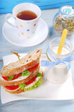 Diet breakfast with caprese sandwich Stock Photo
