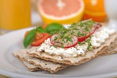 Diet breakfast with crispbread royalty free stock images