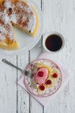 Diet Breakfast with manna pie with banana Royalty Free Stock Photography