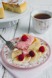 Diet Breakfast with manna pie with banana Royalty Free Stock Photos