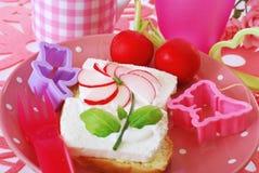 Diet  breakfast with radish flower  for child. Diet spring sandwiches with cottage cheese,cream and  radish  flower as breakfast for child Stock Photography
