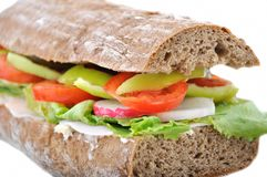 Diet brown baguette with vegetable Stock Photos