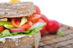 Diet brown baguette with vegetable Stock Image