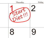 Diet calendar Royalty Free Stock Images