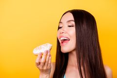 Diet and calories concept. Close up cropped portrait of happy as royalty free stock images