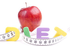 Diet, centimeter and apple Stock Photography