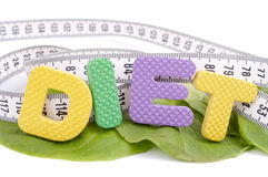 Diet and centimeter on the lettuce leaves Stock Photo