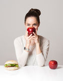 Diet choices concept. stock photo